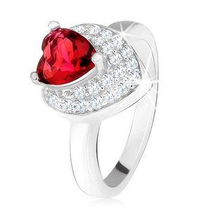 Inel cu zirconiu roşu, ştrasuri transparente, inimă dublă, argint 925 - Marime inel: 49 imagine