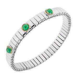 Brățară extensibilă din oțel argintiu, bile culoare verde smarald imagine