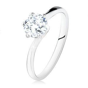 Inel de logodnă argint 925, zirconiu rotund, transparent, braţe înguste - Marime inel: 49 imagine