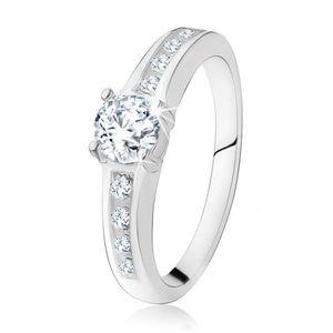 Inel de logodnă argint 925, ştras rotund, transparent, braţe decorate - Marime inel: 48 imagine
