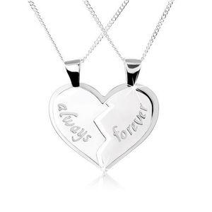 Colier realizat din argint 925, pandantiv dublu inimă îmbinată, inscripții, always, forever imagine