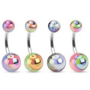 Piercing pentru buric realizat din oțel, bile colorate cu sclipire metalică, ochi - Culoare Piercing: Albastru imagine