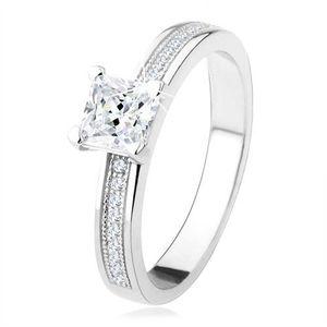 Inel de logodnă argint 925 - zirconiu pătrat, ştrasuri pe braţe - Marime inel: 49 imagine