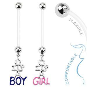 Piercing pentru buric realizat din bioflex pentru femei însărcinate, IT'S A BOY, IT'S A GIRL - Culoare Piercing: Albastru imagine