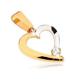 Pandantiv în două culori din aur 9K - contur de inimă asimetrică imagine