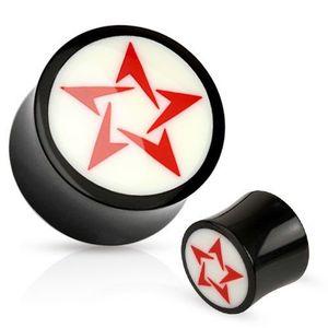 Plug pentru ureche, rotund, din material organic, alb cu negru, stea roşie - Lățime: 10 mm imagine