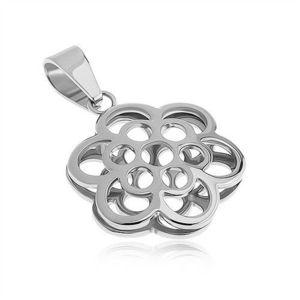 Pandantiv cu două feţe din oţel, contur de flori, culoare argintie imagine