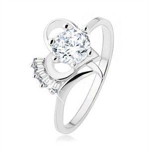 Inel argint 925, zirconiu transparent, proeminent, într-un contur de inimă - Marime inel: 49 imagine
