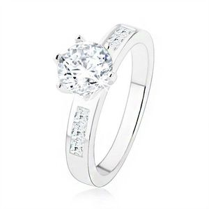 Inel de logodnă argint 925, zirconiu transparent într-o montură, braţe decorate - Marime inel: 49 imagine