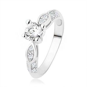 Inel de logodnă argint 925, zirconiu transparent, oval strălucitor, linie rotunjită - Marime inel: 49 imagine