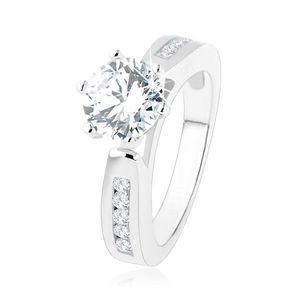 Inel de logodnă, braţe decorate, zirconiu rotund, transparent, decupaj, argint 925 - Marime inel: 49 imagine