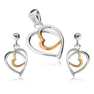 Set din argint 925 - pandantiv şi cercei, contururi de inimă, argintiu şi auriu imagine