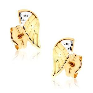 Cercei în două culori placaţi cu rodiu din aur 9K - aripă de înger gravată imagine