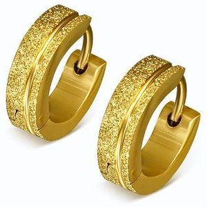 Cercei aurii, sclipitori, din oțel, verigi sablate, dungi imagine