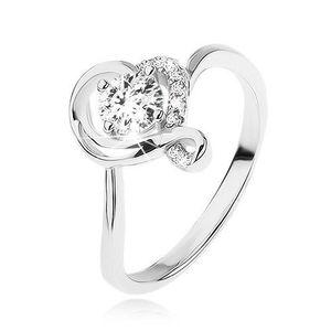 Inel de logodnă argint 925, zirconiu rotund, transparent într-un contur ondulat de inimă - Marime inel: 49 imagine