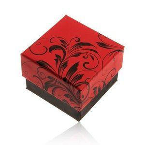 Bijuterii eshop - Cutiuță de cadou roșu cu negru pentru inel, model floral Y28.2 imagine