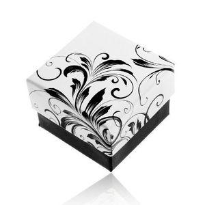 Cutiuță de cadou pentru inel, model frunze agățătoare, combinație negru cu alb imagine
