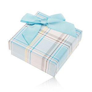 Cutiuță de cadou pentru inel sau cercei, model în carouri, fundiță albastru deschis imagine