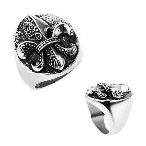 Inel din oţel, Fleur de Lis într-un oval, culoare argintie, strat oxidic - Marime inel: 57 imagine