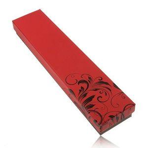 Cutiuță de cadou pentru lanț și ceas de mână, versiune pe roșu cu negru, ornament floral imagine
