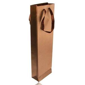 Bijuterii eshop - Pungă de cadou dreptunghiulară de culoarea bronzului, strălucitoare, panglici maro Y32.19 imagine