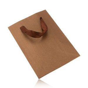 Bijuterii eshop - Pungă mică de cadou lucioasă, de culoarea bronzului, panglici maro Y32.20 imagine