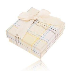 Cutiuță de cadou pentru inel, cercei sau pandantiv, model galben în carouri, fundiță imagine