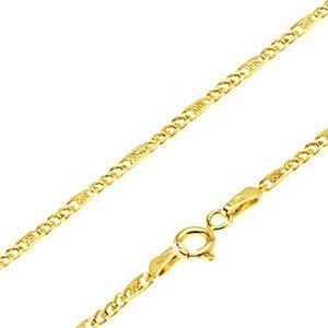 Lanţ din aur galben 14K - trei ochiuri mici, za alungită cu plasă, 450 mm imagine