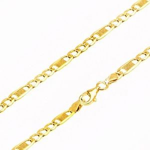 Lanţ din aur galben 9K, trei ochiuri ovale şi unul mai lung cu plasă, 450 mm imagine