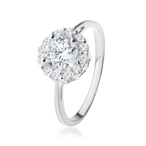 Inel din argint 925 - zirconiu rotund transparent cu contur strălucitor - Marime inel: 49 imagine