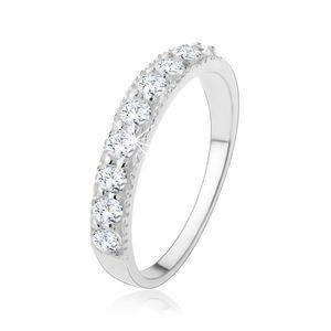 Inel din argint 925 - linie zirconiu strălucitor transparent - Marime inel: 49 imagine