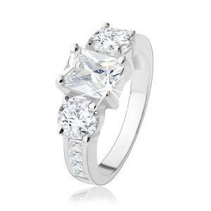 Inel de logodnă din argint 925, trei zirconii mari transparente, braţe decorate - Marime inel: 48 imagine