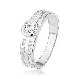 Inel de logodnă din argint 925, zirconiu rotund transparent, linii strălucitoare - Marime inel: 48 imagine