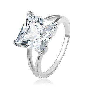 Inel de logodnă din argint 925 cu zirconiu mare pătrat - Marime inel: 49 imagine