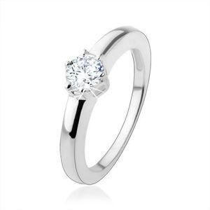 Inel de logodnă din argint 925 cu zirconiu rotund - Marime inel: 49 imagine