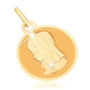 Pandantiv din aur 375 - medalie rotundă plată, Fecioara Maria imagine