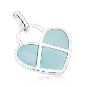Pandantiv din argint 925, inimă plată decorată cu sidef albastru imagine