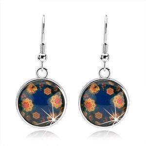 Bijuterii eshop - Cercei rotunzi, sticlă rotunjită, flori colorate pe un fond negru SP52.24 imagine