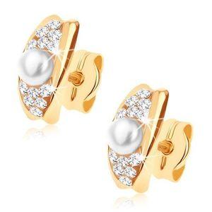 Cercei din aur 375 - linie arcuită decorată cu cristale Swarovski şi perlă albă imagine