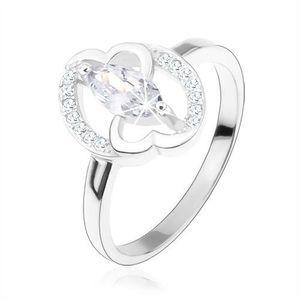 Inel de logodnă, argint 925, grâunte zirconiu transparent, inimi unite - Marime inel: 49 imagine