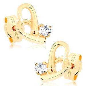 Cercei din aur galben 9K - contur inimă asimetrică, zirconiu transparent imagine