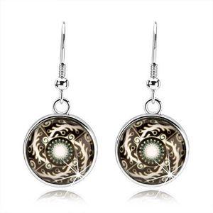 Bijuterii eshop - Cercei rotunzi, linii albe răsucite - spirală, ornamente, fond negru SP68.03 imagine