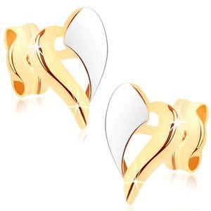 Cercei din aur 375 - contur în două culori de inimă asimetrică, placaţi cu rodiu imagine