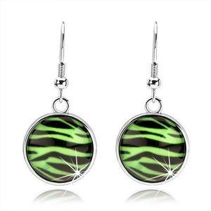 Cercei cabochon cu sticlă rotunjită, model de zebră verde cu negru imagine