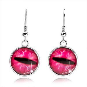 Bijuterii eshop - Cercei cabochon rotunzi, sticlă transparentă, convexă, ochi de pisică roz SP69.23 imagine