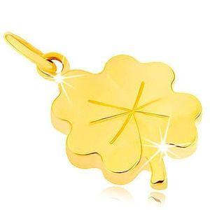 Pandantiv realizat din aur de 9K - trifoi cu patru foi pentru noroc, crestături imagine