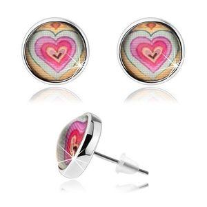 Bijuterii eshop - Cercei rotunzi cu sticlă convexă, inimi multicolore, cu șurub SP76.11 imagine