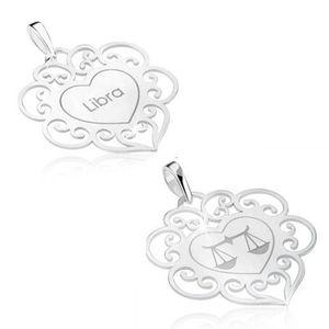 Pandantiv cu două fețe, argint 925, semn zodiacal Libra (Balanță), inimă cu ornamente imagine