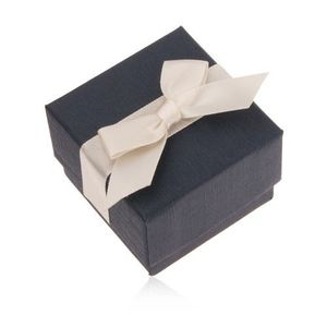 Cutiuţă de cadou albastră pentru inel, pandantiv sau cercei, panglică bej imagine