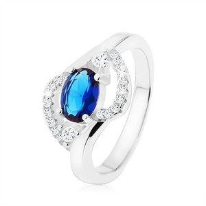 Inel din argint 925, oval zirconiu albastru închis, linii transparente rotunjite - Marime inel: 49 imagine